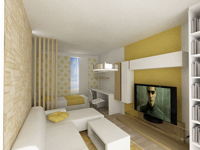 Návrh Interiéru Obývacího Pokoje V Panelovém Domě Karlovy Vary