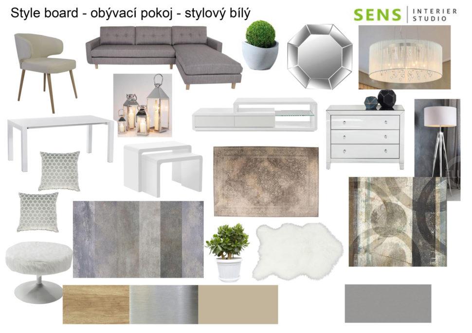 vintage obývací pokoj , bílý obývací pokoj, stylový obývací pokoj , style board interier , návrh interiéru , bytový design , bytový designer ,